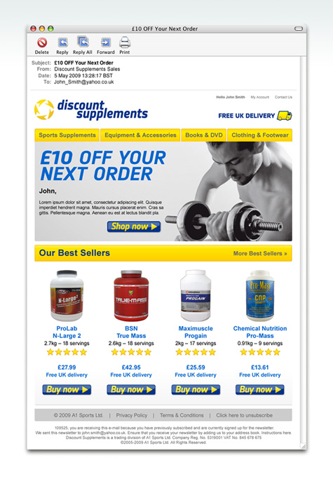 Discount Supplements Email Campaign